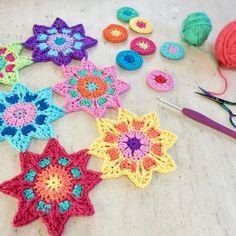 crochet motifs | poppyandbliss Crochet Diagram, Crochet Motif, Crochet Doilies, Knit Crochet, Crochet Patterns, Crochet Stars, Love Crochet, Double Crochet, Single Crochet