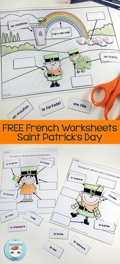 La Saint-Patrick: French Saint Patrick's Day Slideshare and FREE labelling worksheets for you to celebrate la St-Patrick in your French classroom! Kindergarten Writing, Kindergarten Activities, Spring Activities, Holiday Activities, Preschool, Teaching French Immersion, St Patrick Day Activities, French For Beginners, French Worksheets