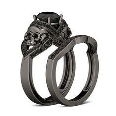 Black Gold Round Cut Created White Sapphire Rhodium Plating Sterling Silver Skull Ring