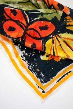 VINTAGE Vera Neumann Silk Scarf 1950 with by ICandyvintageshop, $26.50