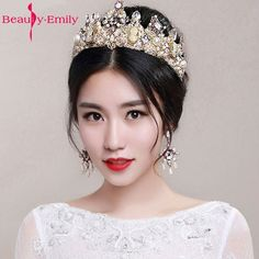 Beauty-Emily Barroco Headband Crown Europe and Large Baroque Married Crown Tiara Women Jewelry Wedding Accessories
