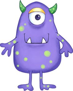 Your Free Art: Cute Blue, Purple and Green Cartoon Alien Monsters! www.yourfreeart.net printable paper crafts, cards, note cards, DIY, stamps, coloring pages