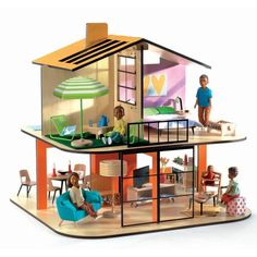 Djeco modern doll house - Pitched Roof Colour House - wooden dollhouse