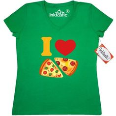 Inktastic I Love Pizza Women's V-Neck T-Shirt Heart Italian Food Cheese Pepperoni Tomato Basil Pie Pinkinkartkids Drinks Chef Cook Kitchen Coffee Clothing Apparel Tees Adult, Size: Small, Green