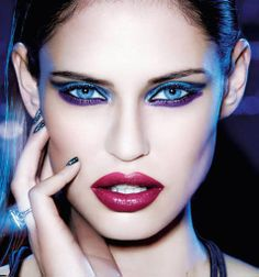 Bianca Balti in two-tone blue & purple eye shadow & berry red lipstick | L'Oreal Paris 2013 Holiday #makeup