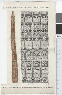 Oseberg Findings from folder 'Oseberg, textiles - silk': Silk Fabric 3, fragment 30. The character of Sofie Krafft: a / ink drawing ('trying construction') and b / watercolor ('character') and cut out. Measure A / B: 20.8 cm H, 35.5 cm, b / B: 4.5 cm H, 28.5 cm.