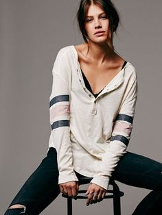 7c23c2f91b4ba Free People We The Free Game Time Henley Womens Henley Shirt