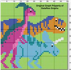 This graph goes in our Dinosaur Train series. The original requester wants a graph of her son's name that I will send to her individually, but I wanted to make sure that there w… Crochet Skull Patterns, Crochet Dinosaur Patterns, Pokemon Crochet Pattern, Loom Knitting Stitches, Knitting Paterns, Knitting Charts, Dinosaur Blanket, Dinosaur Jumper, Cross Stitching