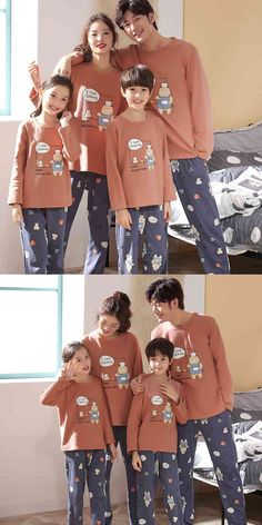 Parent-child pajamas long-sleeved trousers family wear cartoon home service on sale Summer Pajamas, Boys Pajamas, Pajamas Women, Mens Silk Pajamas, Cotton Pyjamas, Matching Family Christmas Pajamas, Plus Size Pajamas, Kids And Parenting, Pajama Set