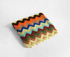 Vintage Chevron Woven Blanket - Knit, Mid Century, Modern, Granny, Retro. $89.00, via Etsy.