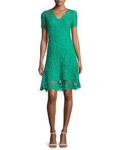 TBPFE Elie Tahari Samira Short-Sleeve Lace Dress, Palm