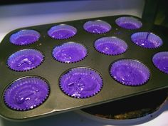 Purple cupcakes @April Billings, we need to make these!! Maybe w/ a different color purple or rainbow icing?