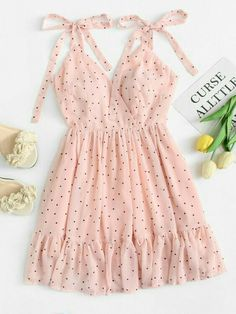 Polka Dot Ruffle Hem Cami Dress - Summer Dresses for Women Mode Outfits, Trendy Outfits, Trendy Fashion, Korean Fashion, Summer Outfits, Summer Dresses, Womens Fashion, Pink Fashion, Skirt Outfits