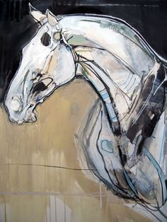 "Blood Horse II 41"" x 33"", Mixed media on paper"