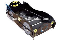 Batman car bed design in toddler bedroom Batman Batcave, Batman Room, Batman Car, Cama Batman, Batman Toddler Bed, Little Boy Beds, Kids Bed Frames, Car Bed, Wooden Car