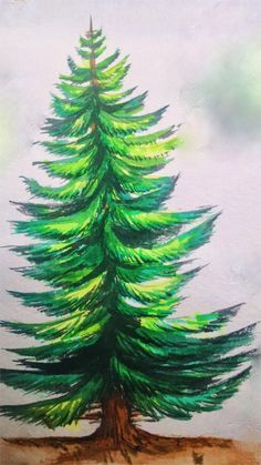 Christmas Tree Drawing Easy, Watercolor Christmas Tree, Christmas Tree Painting, Pine Tree Painting, Tree Watercolor Painting, Watercolor Flowers, Watercolor Landscape, Tree Drawings Pencil, Landscape Pencil Drawings