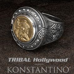 Konstantino CONSTANTINE BRONZE COIN Mens Ring in Sterling Silver