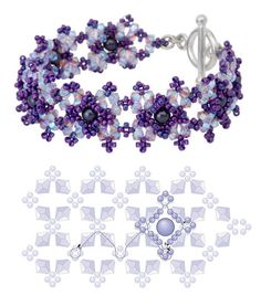 Free Plum Blossom Bracelet Pattern from INM Crystal featured in Bead-Patterns.com Newsletter!