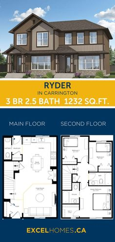 3 Bedroom Floor Plan | Ryder Home Design By Excel Homes | #floorplan #house #houseplans #home #homedesign #homebuilder #canadahome #3bedroom