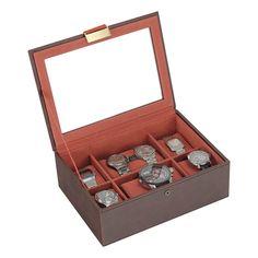 Box na 8 hodiniek uzatvárateľný / hnedá/ oranžová