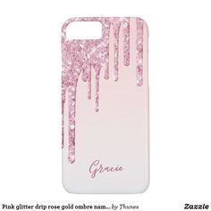 Pink glitter drip rose gold ombre name girly iPhone 8/7 case