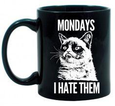 Grumpy Cat Funny Mug. Monday blues humor. Birthday gift ideas for friends.