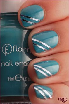 NailGlaze : Flormar Nr. 429 with Nail Tape Stripes Nail Striping Tape, Tape Nail Art, Tape Art, Fancy Nails, Cute Nails, Pretty Nails, Nail Manicure, Diy Nails, Stripped Nails
