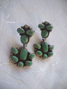 Signed Vintage NAVAJO Sterling Silver & TURQUOISE Cluster EARRINGS…