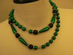 vintage jewels ...  FAB Retro Long GREEN Black and Shiny Gold NECKLACE vintage antique plastic celluloid bakelite    ...