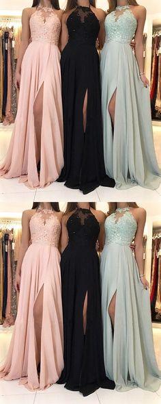 Charming Lace Halter Long Chiffon Split Evening Prom Dress#promdress#eveningdress#dress#dresses#gowns#partydress#longpromdress