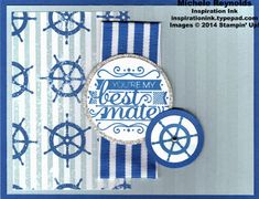 "Handmade card by Michele Reynolds, Inspiration Ink, using Stampin' Up! products - Hello, Sailor Set, Stripes Embossing Folder, High Tide Designer Series Paper, Glimmer Paper, and 1-1/4"" Striped Grosgrain Ribbon."