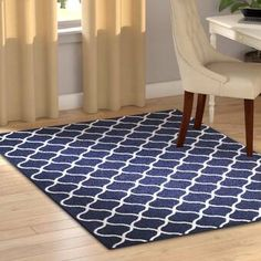 Wrought Studio Rubino Contemporary Trellis Geometric Navy Blue Area Rug & Reviews | Wayfair Indoor Outdoor Area Rugs, Navy Blue Area Rug, White Trellis, Tufted, White Rug, Blue Area, Blue And White, Blue And White Rug, Charlton Home