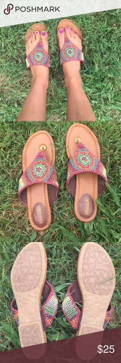 Woven sandals Super cute and trendy woven sandals from TheSak. Size 9 and never worn except for this picture. Comfortable cushioned sole and very intricate woven design The Sak Shoes Sandals