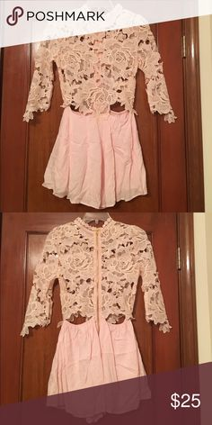 """NEW Sexy rose lace romper! Brand new pink romper with lace in shape of roses! I am so love in with this romper, but haven't worn it since I bought it a year ago, so it needs to go! It is slightly sheer, so would recommend wearing spanx underneath for another layer. I'm 5'3"""" and the medium is the perfect fit, shorts aren't too long/ short and the torso is still form fitting. Dresses"""