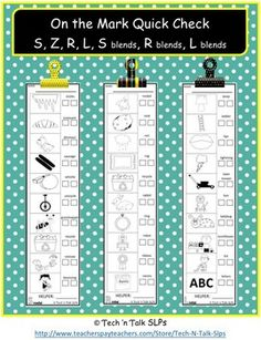 On the Mark Quick Check S, Z, R, L, & Blends.  Bookmark style picture/word list for quick articulation practice for school or home.