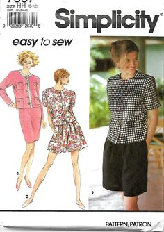 Simplicity 7867 Misses Front Pleated Shorts, Slim Skirt And Unlined Jacket, 6-12, UNCUT by DawnsDesignBoutique on Etsy