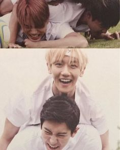 KaiSoo and ChanBaek on the too of each other lmao  - Admin Tin  #EXO…