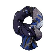 GOLDEN GOOSE DELUXE BRAND Printed Scarf (12.095 RUB) ❤ liked on Polyvore featuring men's fashion, men's accessories, men's scarves, blue and mens wool scarves
