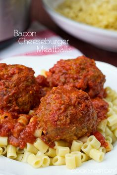 Slow Cooker Bacon Cheeseburger Meatballs from @cookthestory. Yum.