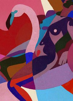 Inès Longevial is an illustrator and art director based in Paris. She uses mostly solid colors where body and forms are mixed with geometric lines. http://www.ineslongevial.com/