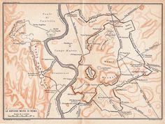 Ancient Rome City Walls Plan 1933 Aurelian by CarambasVintage, $20.00