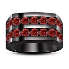 Two Row Channel Set. 3.24 CT Round Red Garnet 14K Black Gold Fn Men's Band Ring #aonejewels #MensBandRing #EngagementWeddingAnniversary