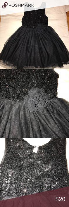Girls black sequin dress 5/6 NWOT Girls the children's place black sequin dress  Tulle skirt/sequin top. NWOT The Children's Place Dresses Formal
