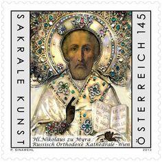 2013 Austria :: Religious Art in Austria :: Icon of St. Nicholas of Myra :: Single Stamp Icon St. Nicholas to Myra