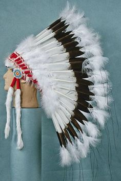 Deluxe Warbonnet, Hand Painted Eagle Feathers - White- White