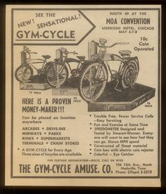 "1956 ""Gym-Cycle"" coin-op bicycle ride advertisement."