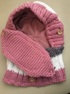 Women Winter Windproof Warm Plus Velvet Knit Hat Scarf Set - Banggood Mobile Crochet Hooded Scarf, Crochet Beanie, Knitted Hats, Knit Crochet, Crochet Hats, Winter Wear, Winter Hats, Knitting Patterns, Crochet Patterns