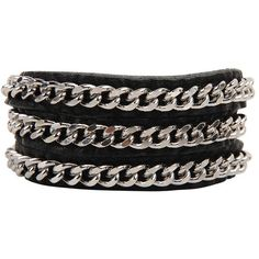 Armitage Avenue Chain Wrap Bracelet ($29) ❤ liked on Polyvore featuring jewelry, bracelets, accessories, black, pulseras, silver jewelry, chain wrap bracelet, silver bangles, silver jewellery and silver chain jewelry