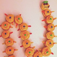 Centipede cupcakes for our celebration of learning/end of novel study for Roald Dahl's James and the Giant Peach.