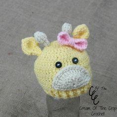 Cream of the Crop Crochet~Preemie Baby Girl Giraffe Hat {paid #crochet pattern} #handmade